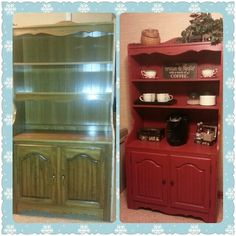 Outdated hutch into a coffee bar. Used a diy recipe for chalk paint and voila... hours of prep time gone.