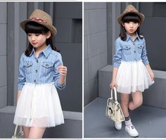 Fashion Cowboy Dress For Kids Denim Blouse Causal Girls DressesWith Laces Children Patchwork Mesh Dresses
