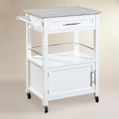 Featuring a classic granite top with a drawer, an open shelf and a cabinet, our white pine kitchen island is a versatile kitchen workspace with ample room for supplies and gadgets. It's outfitted with easy-roll wheels that let you move this mobile storage solution where it's needed in an instant.