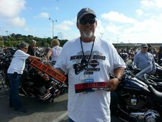 """So excited to receive his """"Watch for Motorcycles"""" and """"DNT TXT N DRV"""" stickers at the Harley-Davidson 110th Anniversary Party in Milwaukee, Wisconsin.  Get your free items.  #harley #motorcycle #milwaukee #hd110"""