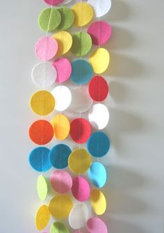 Fun and Bright Felt Circle Garland $17.50