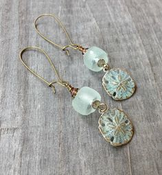Sea and Sand Dollar Earrings by EsKayDesignsSK on Etsy