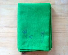 Green Tea Towel Hand Printed with a Botanical by mipluseddesign, €12.00
