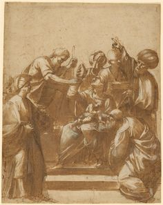 Primary Title: Adoration of the Magi Maker Name: Attributed to Jusepe de Ribera (Spanish / Italian, 1591 - 1652) Type: Drawings Medium: Pen and brown ink with a wash over black chalk, heightened with white Place: Place Created: Spain Date: about 1620 Source: J. Paul Getty Museum