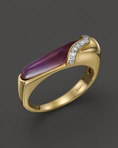Kara Ross 18K Yellow Gold Thin Hydra Stacking Ring with Amethyst, Mother-of-Pearl & Diamonds