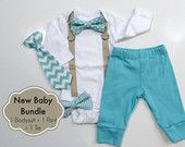 Baby Boy Coming Home Outfit. Newborn hospital outfit. Boy Coming Home Clothes. Newborn Boy Clothes. Newborn bowtie bow tie tie. Aqua chevron