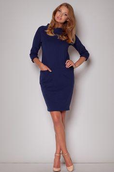 Flecked Seam Shift Navy Blue Dress With Side Welt Pockets LAVELIQ