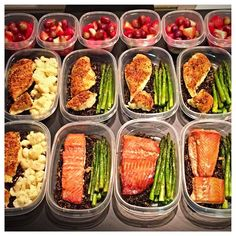 For this week's #mealprep I made some #wild #rice from @wholefoods #soy #sauce marinated #salmon from @costco steamed #cauliflower roasted #asparagus & #garlic baked #chicken. For #snacks I prepped #strawberries & #grapes. Super #delicious! #latepost #latergram #mealprepmonday #mealprepsunday #mealprepdaily #food #foodporn #foodprep #protein #keto #fruit #veggies #vegetables  #stayfierce #fiercefabliving by fiercefabliving