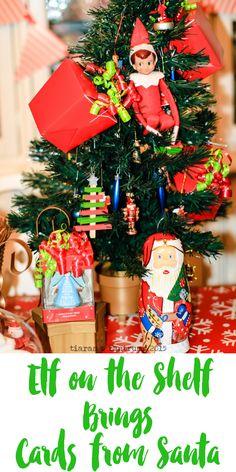 Elf on the Shelf Brings Cards From Santa #SendHallmark #ad  AND He also brought the kiddos breakfast!  #ElfontheShelf2015 #ElfontheShelf #Santa #Holidaycards #Christmas | http://www.tiarastantrums.com/blog/elf-on-the-shelf-brings-cards-from-santa