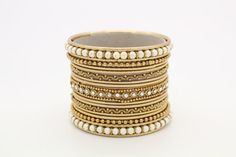 15 Gold Pearl Diamante Indian Bangles Indian Churi by Glimour