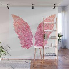 Pink Angel Wings Wall Mural by Marie Funseth - X Nail Salon Design, Salon Interior Design, Boutique Interior, Boutique Decor, Angel Wings Painting, Angel Wings Wall Decor, Wall Painting Decor, Diy Painting, Mural Art