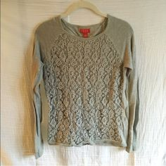Grey Elle lace sweater Elle brand grey long sleeve sweater. Size small. Double layered front with lace overlay Elle Tops
