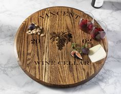 Enjoy our stained lazy susan, made from Oak wood and shaped like wine barrel top. Personalized with your choice of name and year.