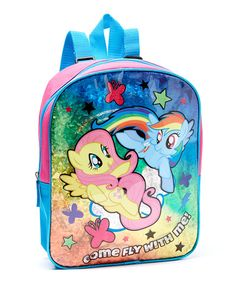 """BLACK COLORFUL MAGICAL FRIENDS SCHOOL BOOK BAG 16/"""" NWT MY LITTLE PONY BACKPACK"""