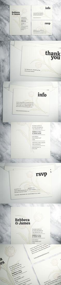 Floral Wedding Suite Wedding Suite, Wedding Card Templates, Minimalist Wedding, Very Well, Invitation Cards, Floral Wedding, Thank You Cards, Rsvp, Thankful