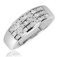 f7b4d4e4b3edf 2 3 Carat T.W. Diamond Men s Wedding Band 14K White Gold