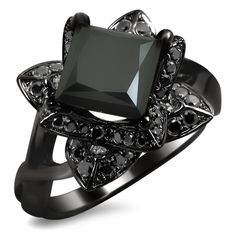 Black Gold Wedding Unique and lustrous, this blooming lotus flower engagement ring features a 1 black princess cut diamond in a four prong setting surrounded by of black round diamonds. This magnificent ring - Lotus Flower Engagement Ring, Black Diamond Engagement, Ring Engagement, Round Diamond Ring, Round Diamonds, Diamond Cuts, Black Diamonds, Lotus Ring, Princess Cut Rings