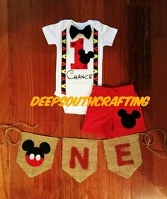 Mickey Mouse First Birthday Smash Cake  Baby boy onesie or