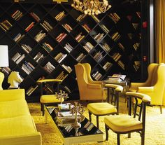 The library area at the Viceroy Santa Monica, designed by Kelly Wearstler