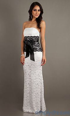 Floor Length Strapless Lace Dress at SimplyDresses.com