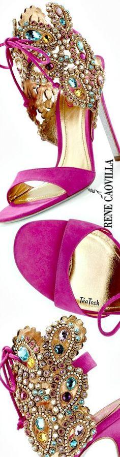 ❇Téa Tosh❇ Rene Caovilla Embellished High-Heel Ankle-Tie Sandal, Fuchsia