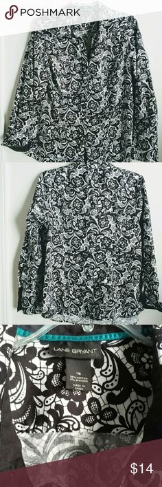 """Lane Bryant Button Floral Blouse In good condition (One button missing on cuff- see pics) 96% cotton 4%spandex Measures 21"""" chest --  25.5"""" length   No trades/modeling -- Offers are welcome cos I need this stuff GONE! :) Lane Bryant Tops Button Down Shirts"""