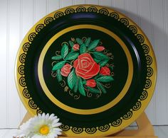 Oversized Round Metal Tray  Vintage ToleWare by DivineOrders, $12.00