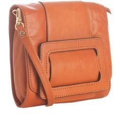 Diane Von Furstenberg Burnt Orange Leather 'jenny Buckle Evening'... ❤ liked on Polyvore