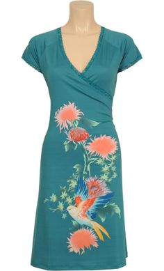 Vintage inspired summer dress with flowers in turquoise - King Louie SS2014