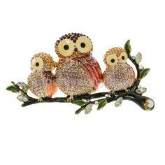 Sweet Crystal Enamel Three Owls Family Animal Brooch Pin Jewelry #Generic