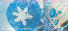 Frozen Theme Snowflake Cookies Each Cookie is Different (just like real snowflakes) Make by the talented and beautiful Ms Anita Shown here hanging on the twinkle branches Frozen Party Food  Visit our website www.dessertbuffets.com.au for more images. http://dessertbuffets.wix.com/dessert-buffets-#!frozen-buffet/c1lll Candy Buffets Sydney | Frozen Buffet Dessert Buffets Sydney Candy Buffets