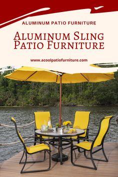 Aluminum Sling Patio Furniture-Comfortable Seating for Outdoor Settings Aluminum sling terrace {furniture Aluminum Patio, Outdoor Settings, Terrace, Porch, Outdoor Decor, Furniture, Home Decor, Diy Patio, Balcony