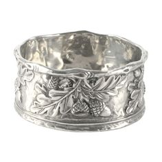 Vagabond House's Hammered Pewter Wine Coaster features an overlay of our signature muse, acorn and oak leaf artwork; Acorns To Oaks, Vintage Silver, Antique Silver, Acorn And Oak, Silver Napkin Rings, Silver Rings, Oak Leaves, Jewelry Box, Aztec Jewelry