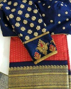 Dark blue bliuse kundan work for Orange Saree Wedding Saree Blouse Designs, Pattu Saree Blouse Designs, Simple Blouse Designs, Stylish Blouse Design, Blouse Desings, Maggam Work Designs, Designer Blouse Patterns, Orange Saree, Maggam Works