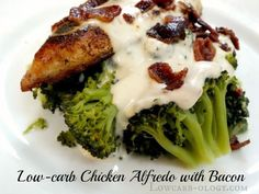 Low-carb Chicken Alfredo with Bacon and Broccoli.
