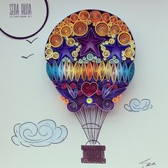 """Quilled Paper Art: """"Up in the Sky"""" by SenaRuna. This quilling is created and designed by SenaRuna, please just like/share it and create your own way:)"""