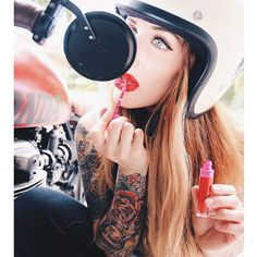 "elegant-apparatus: "" "" Pop up beauty parlor Cafe Racer Helmet, Cafe Racer Girl, Lady Biker, Biker Girl, Motorcycle Photo Shoot, Motard Sexy, Womens Motorcycle Helmets, Motorcycle Girls, Motorcycle Art"