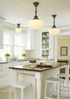 Beautiful rooms with schoolhouse pendant lights