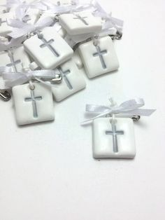 Witness Pins Variety Of Colors Baptism Favors by JosCreationsGR Baptism Favors, Baptism Party, Boy Baptism, Baby Shower Favors, Christening, Polymer Clay Projects, Clay Crafts, Etsy Handmade, Handmade Tags