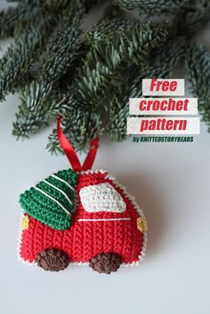 Christmas tree ornament - Crochet car FREE PATTERN - KNITTED STORY BEARS You are in the right place about crochet handbags Here we offer you the most beautiful pictures about the crochet cowl you are Christmas Car, Crochet Christmas Ornaments, Christmas Knitting, Christmas Crafts, Free Christmas Crochet Patterns, Crochet Ornament Patterns, Crochet Snowflakes, Christmas Bells, Christmas Angels