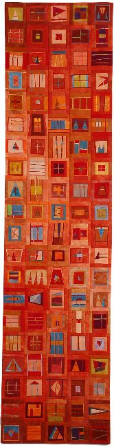 """vertical chaos: orange #2, 15"""" x 60"""", 2007, by erin wilson"""