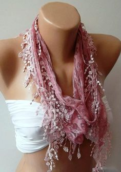Pink   Elegance  Shawl / Scarf with Lacy Edge by womann on Etsy, $16.00