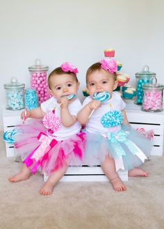 Twin Girl--Baby Girl--First Birthday Tutu Outfits--Aqua and Pink--3D Cupcake--Baby Girl 1st Birthday Tutu Set--Photo Prop on Etsy, $124.00