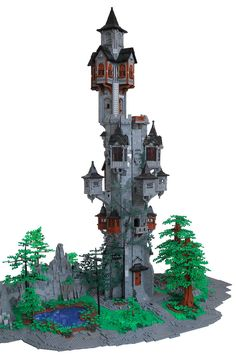 Lego castle tower in the forest. I love the shape and design of it Pc Minecraft, Minecraft Creations, Minecraft Houses, Minecraft Medieval Castle, Lego Design, Lego Moc, Chateau Lego, Lego Burg, Lego Sculptures