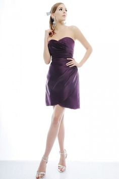 A-line Sweetheart Side Swept Gathered Bodice Faux Wrap Satin Cocktail Dress-soc0074, $162.95