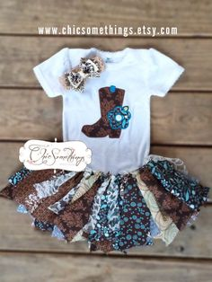 Fabric Tutu COUNTRY CUTIE Cowgirl Barn Country by ChicSomethings