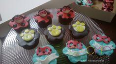 mini cupcake decorado - tema lady bug