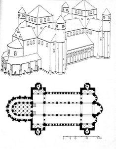 Saint Michael's: Reconstruction View & Plan Ottonian, ca. Saint Michael, St. Michael, Michael Church, Sacred Architecture, Church Architecture, St Michael Hildesheim, Theatrical Scenery, Ottonian, Carolingian