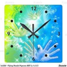 holiES - Flying Hands Pigeons ART Square Wall Clock