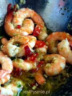 058 Krewetki z mleczkiem kokosowym, chili i limonką Good Food, Yummy Food, Scampi, Seafood Recipes, Shrimp, Chili, Nom Nom, Food And Drink, Veggies